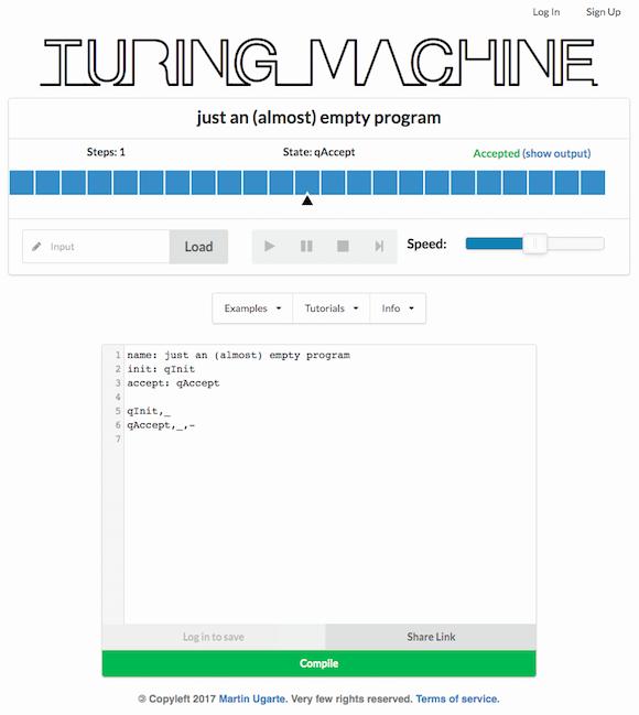 Abb. 1: Bedienoberfläche des Turing-Simulators